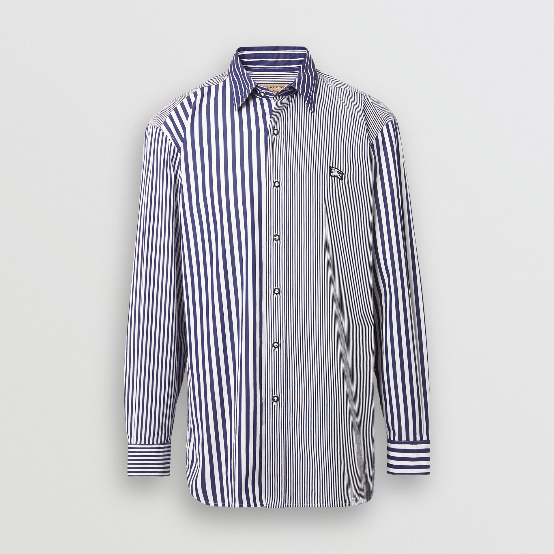 Contrast Stripe Cotton Poplin Shirt in Navy - Men | Burberry - gallery image 3