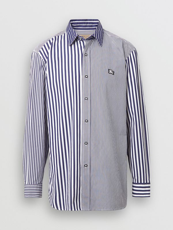 Contrast Stripe Cotton Poplin Shirt in Navy - Men | Burberry - cell image 3
