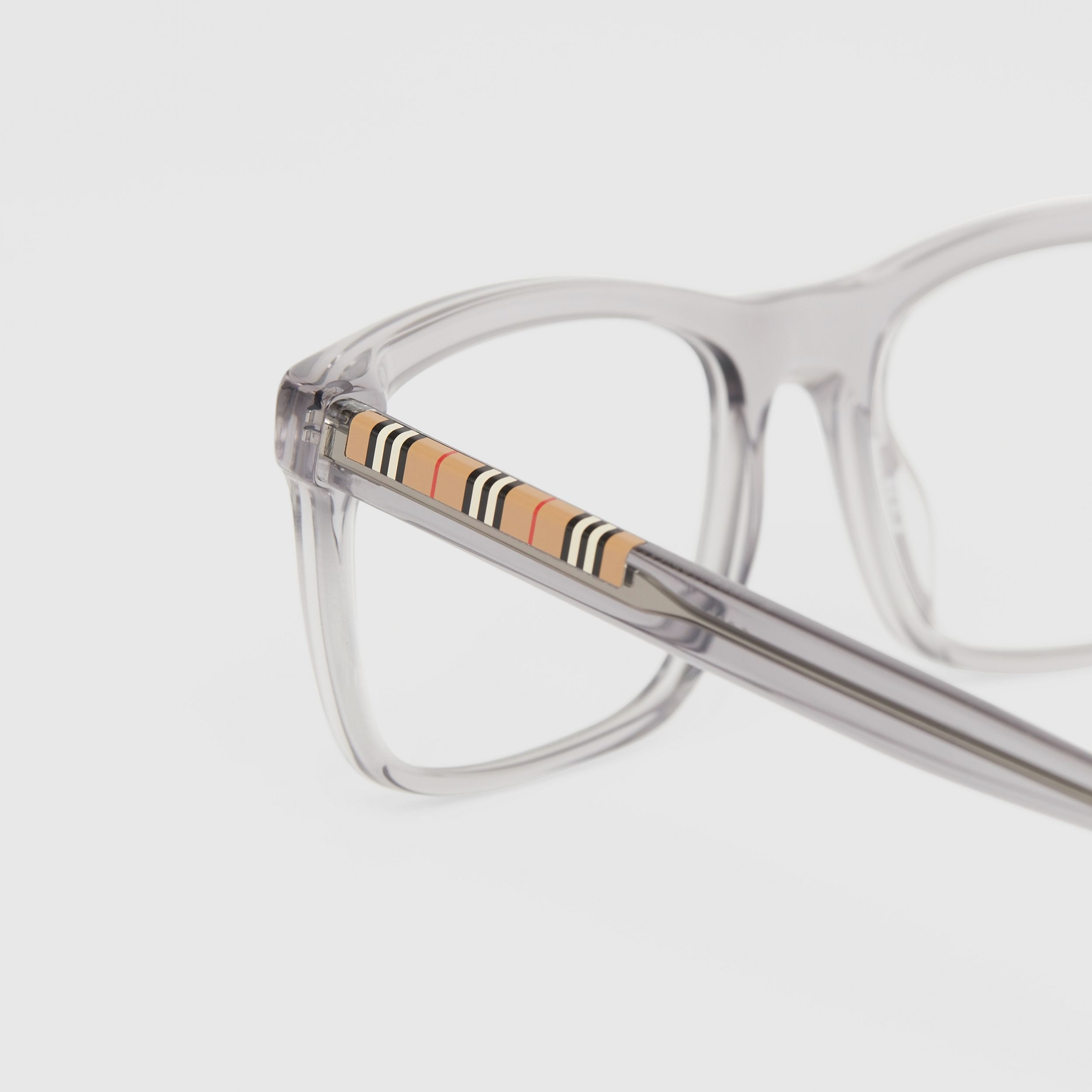 Icon Stripe Detail Rectangular Optical Frames in Grey - Men | Burberry - 2