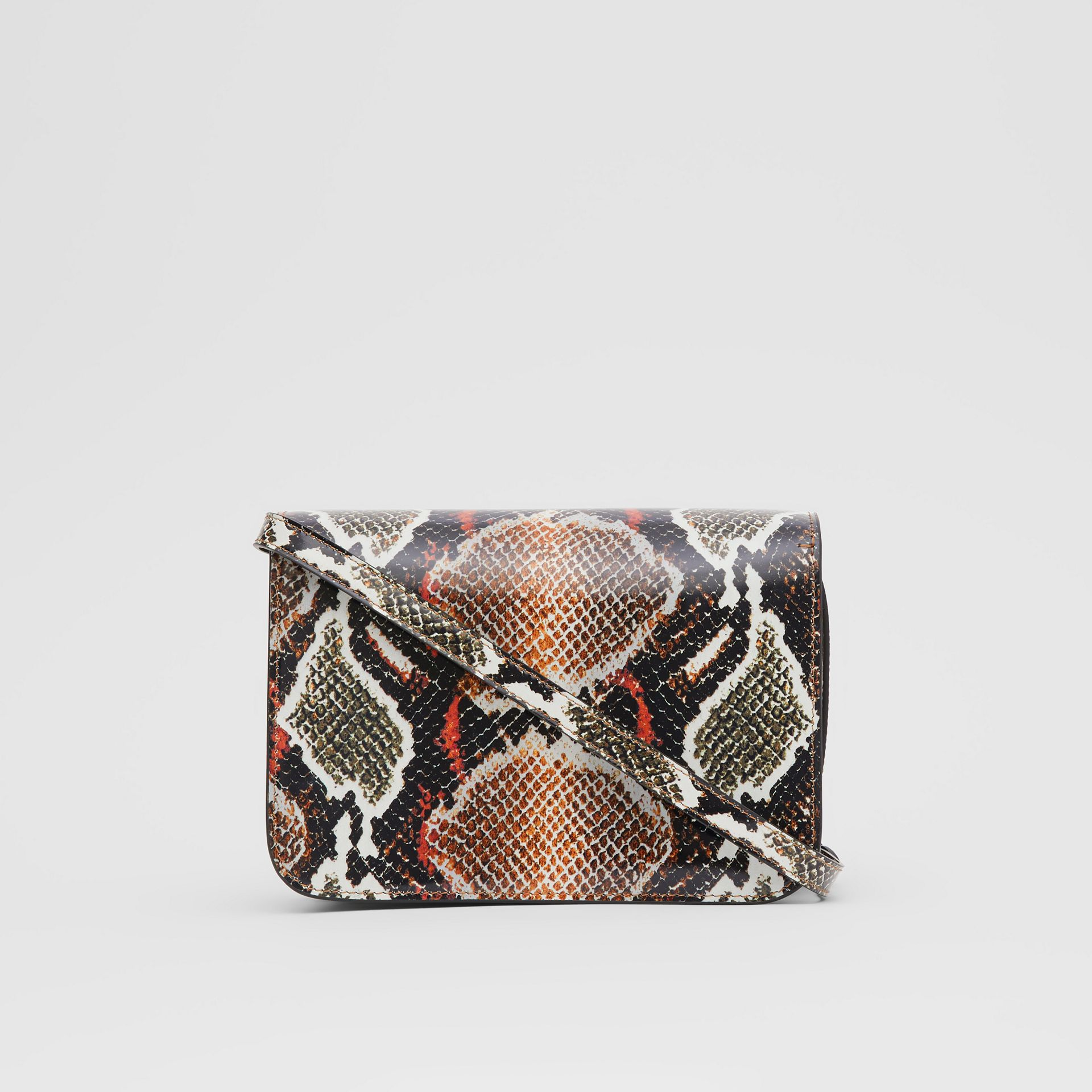 Small Python Print Leather TB Bag in Soft Cocoa - Women | Burberry - gallery image 7