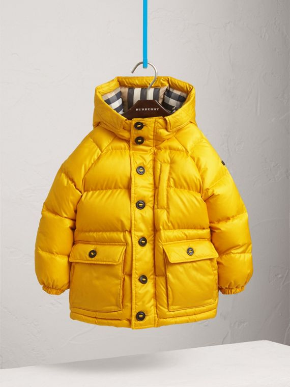 Shower-resistant Hooded Puffer Jacket in Larch Yellow - Boy | Burberry Australia - cell image 2