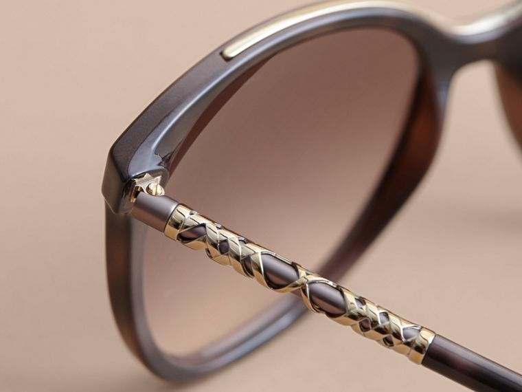 Check Detail Square Frame Sunglasses in Tortoiseshell - Women | Burberry - cell image 1