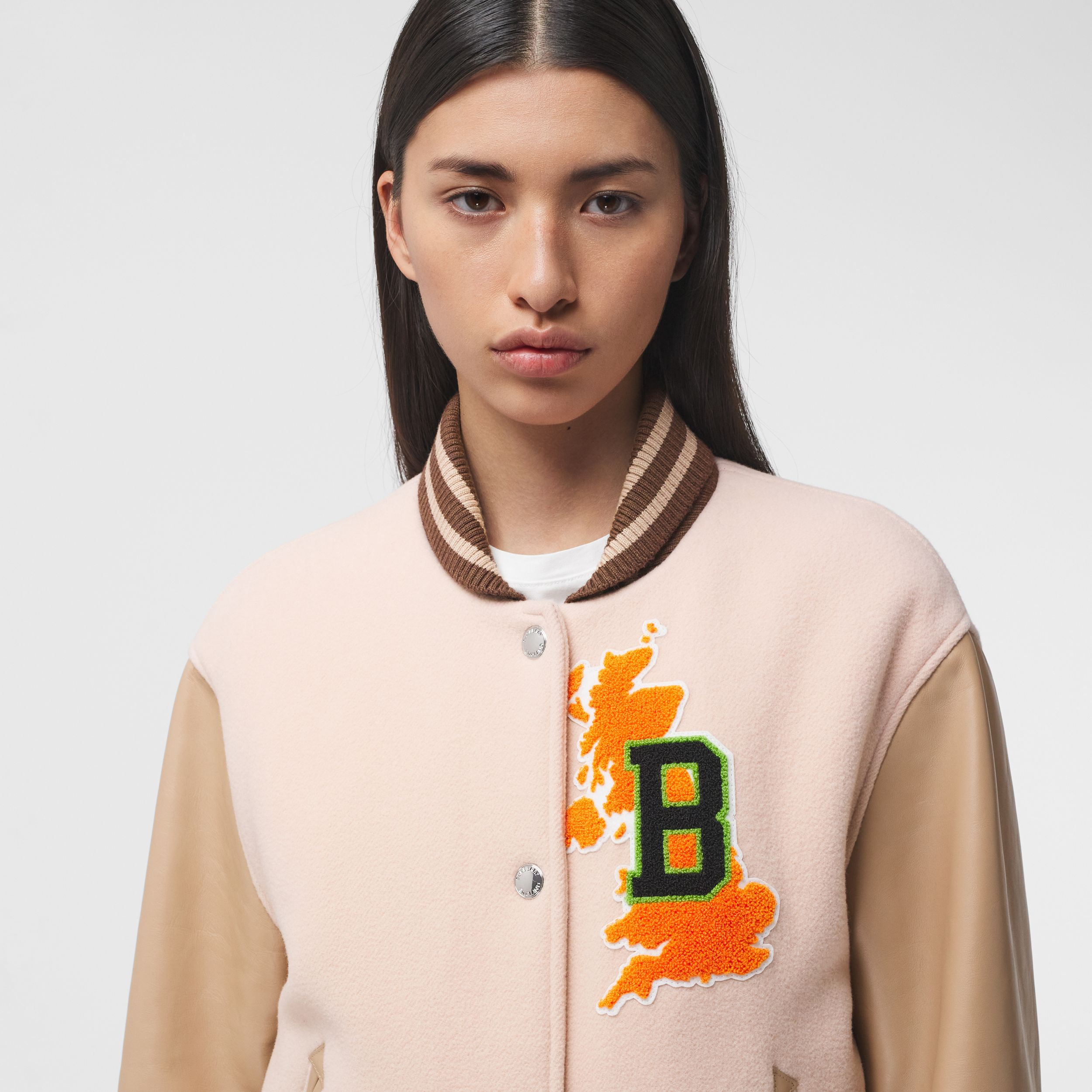 Varsity Graphic Wool and Leather Bomber Jacket in Rose Pink - Women | Burberry Australia - 2