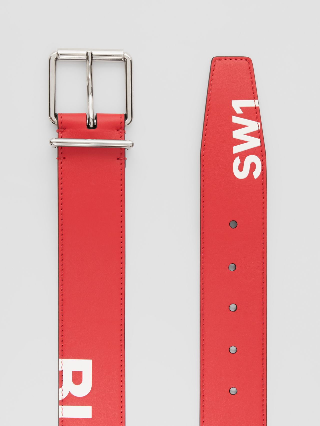 Horseferry Print Leather Belt in Red/white