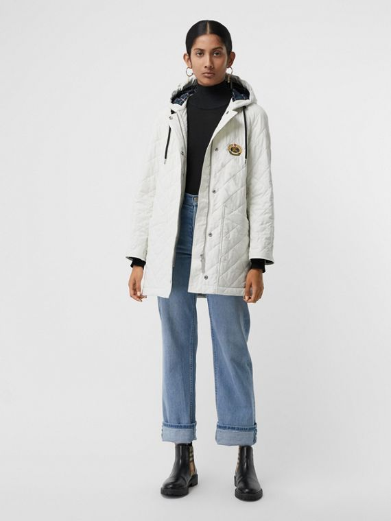 Diamond Quilted Oversized Hooded Parka in Ash White