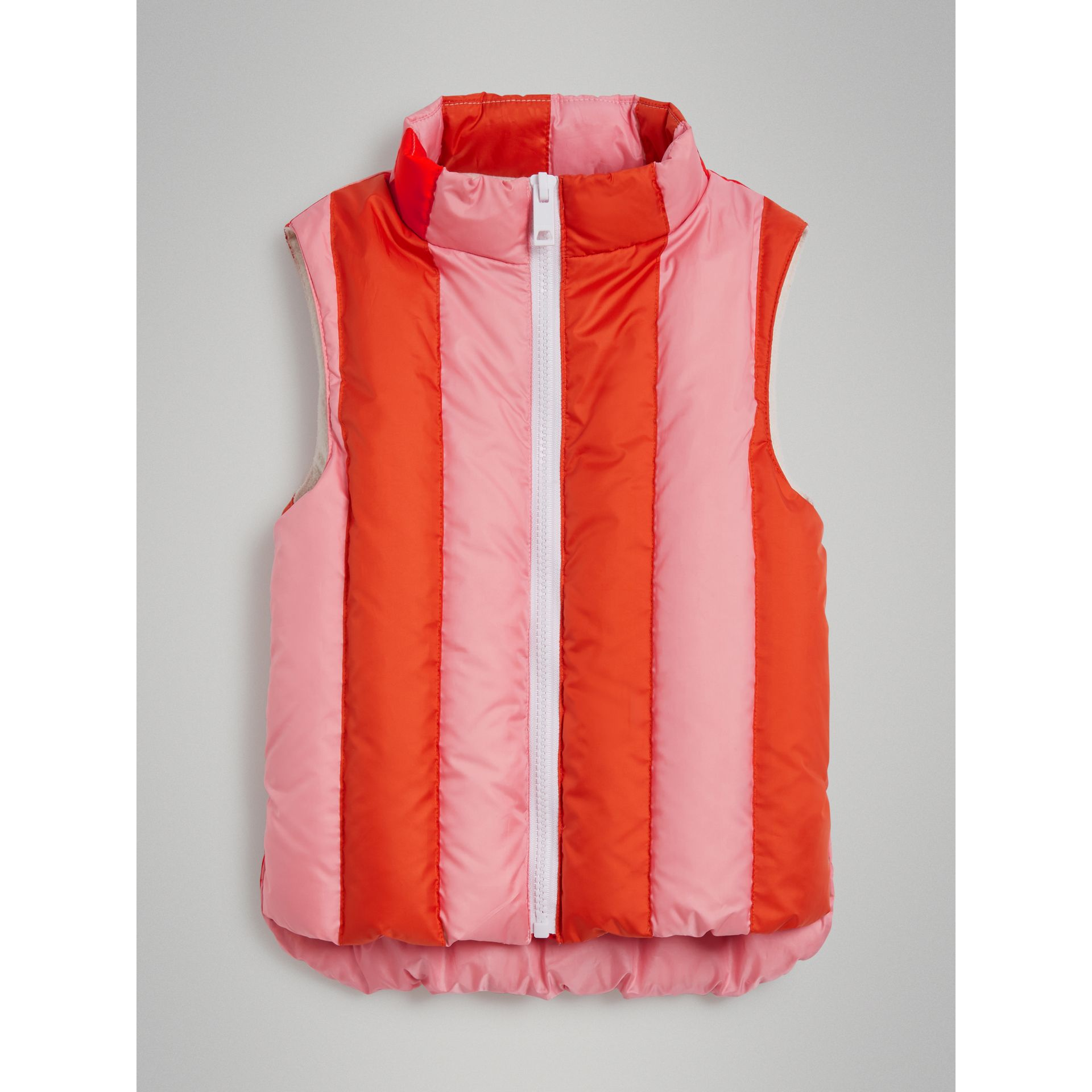 Striped Showerproof Down-filled Gilet in Powder Pink - Girl | Burberry United Kingdom - gallery image 0