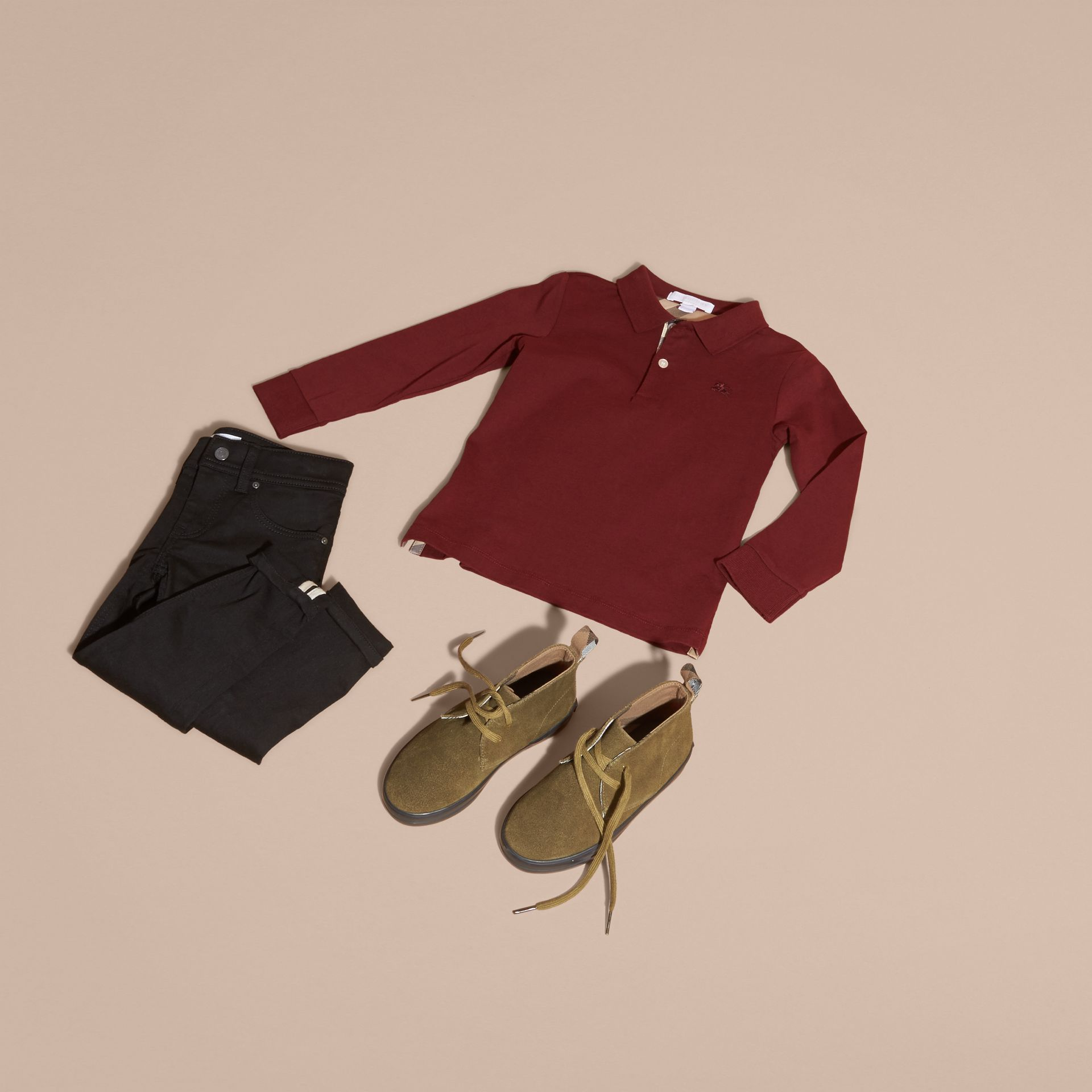Burgundy red Long-sleeved Cotton Polo Shirt Burgundy Red - gallery image 5