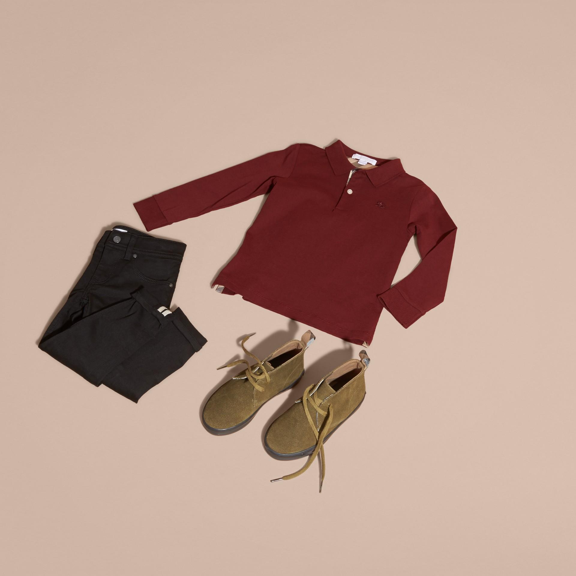 Rosso borgogna Polo in cotone a maniche lunghe Rosso Borgogna - immagine della galleria 5