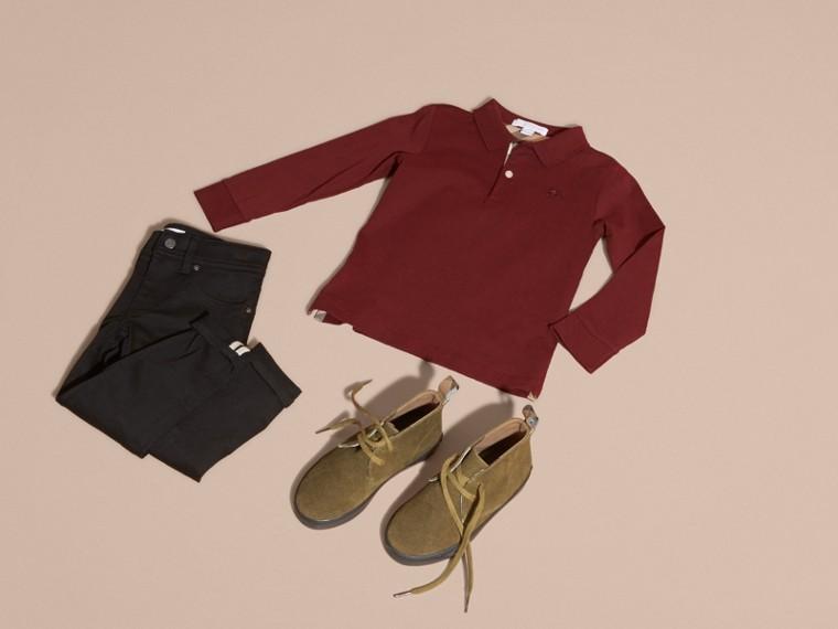 Rosso borgogna Polo in cotone a maniche lunghe Rosso Borgogna - cell image 4