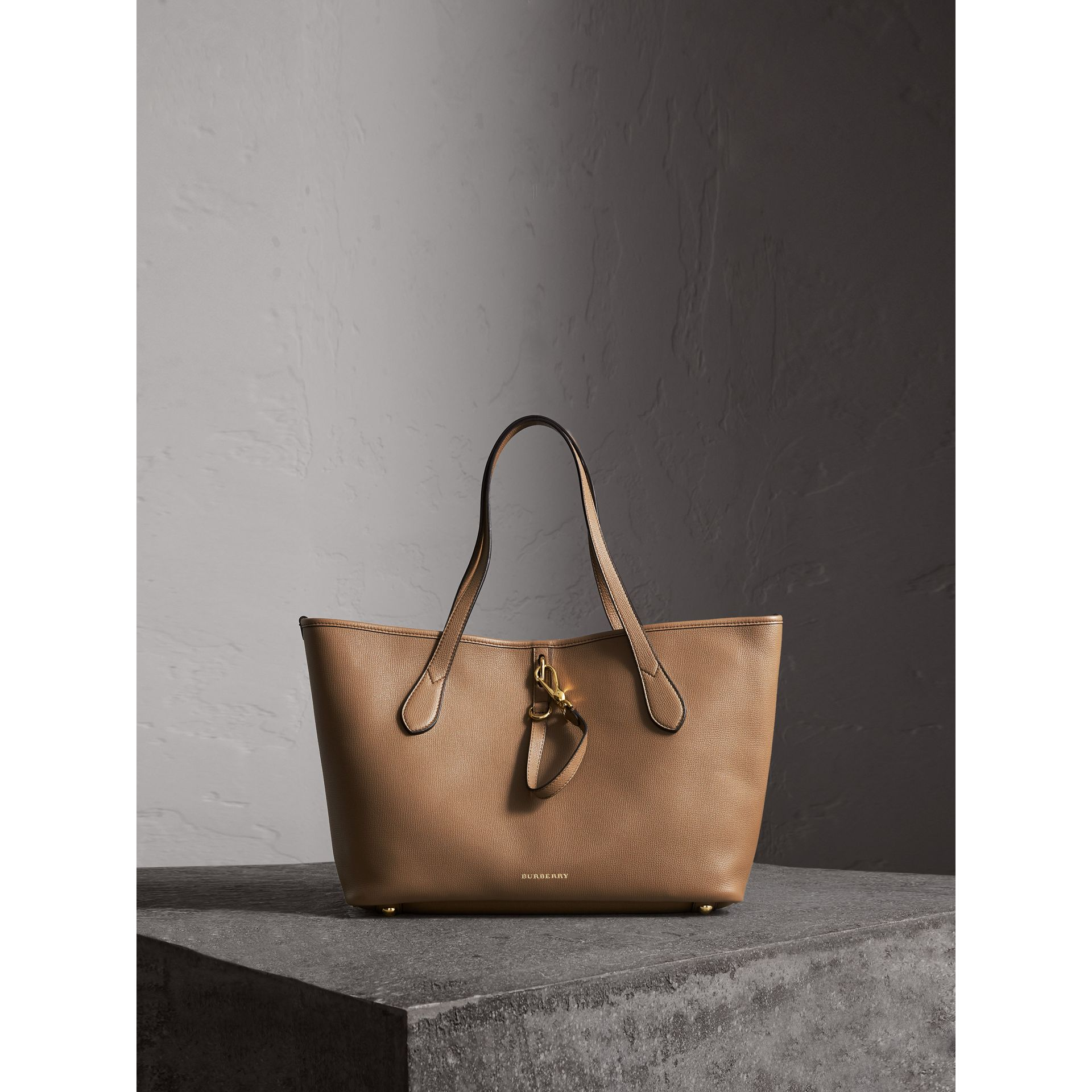 Medium Grainy Leather Tote Bag in Dark Sand - Women | Burberry Australia - gallery image 1