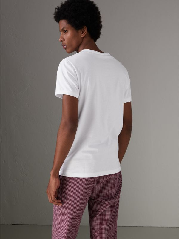 Pocket Detail Cotton Jersey T-shirt in White - Men | Burberry United Kingdom - cell image 2