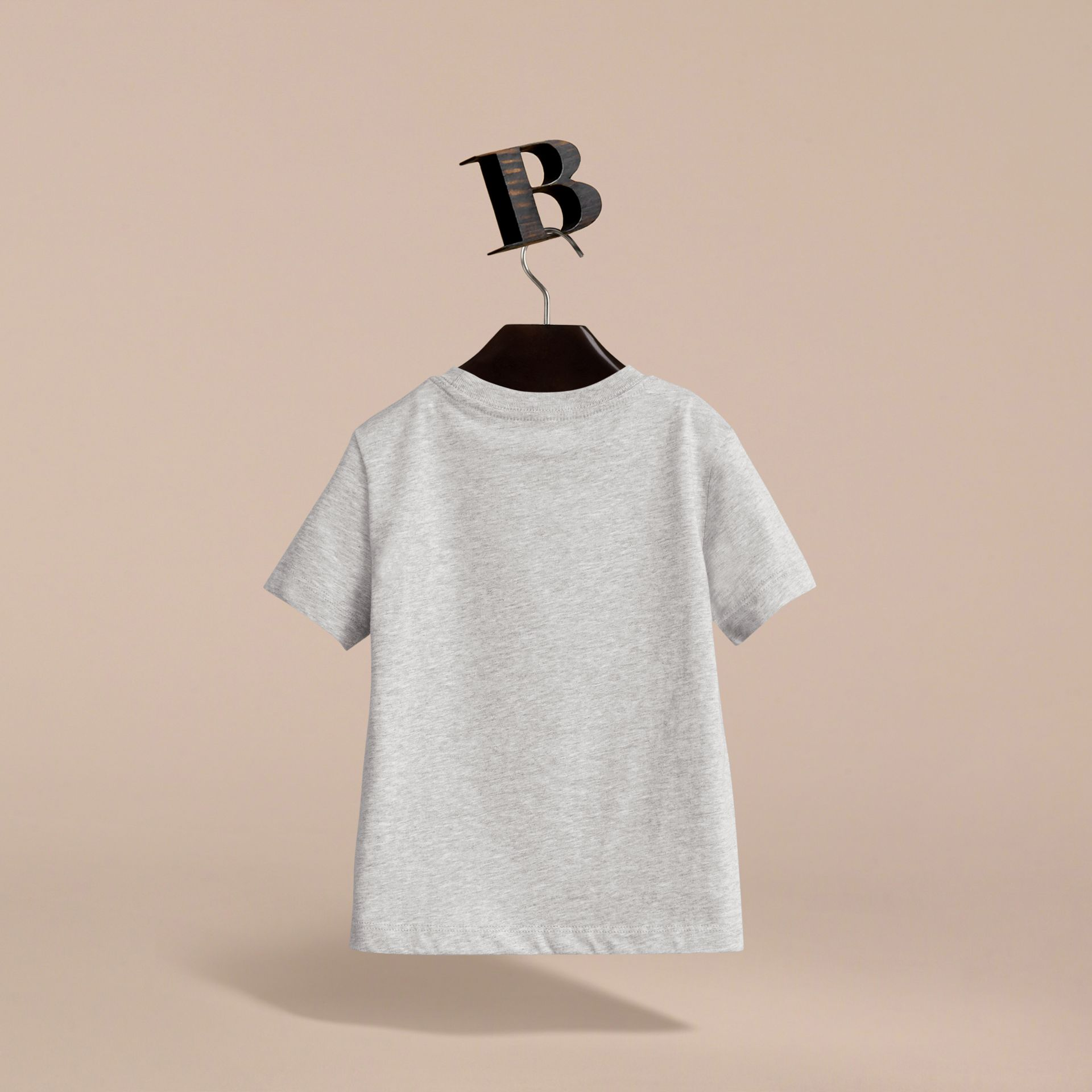 Check Pocket Cotton T-shirt in Grey Melange - Boy | Burberry - gallery image 4