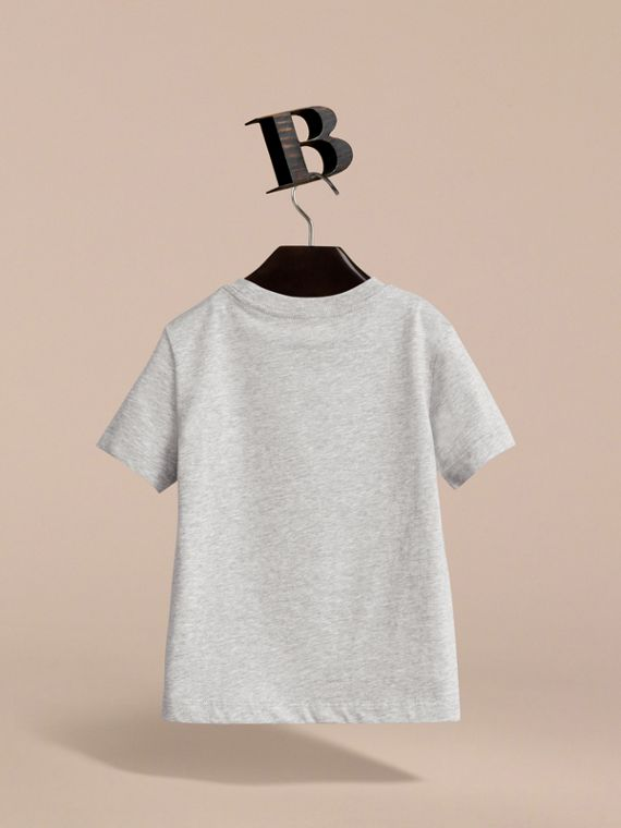 Check Pocket Cotton T-shirt in Grey Melange - Boy | Burberry - cell image 3