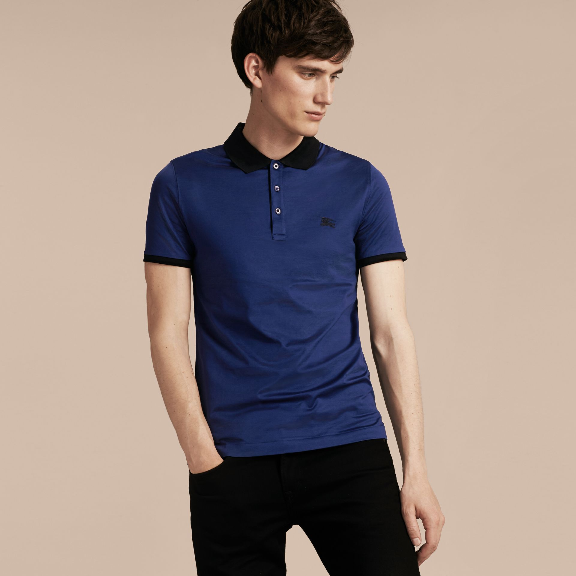 Indigo Fitted Cotton Polo Shirt with Tonal Trim Indigo - gallery image 6