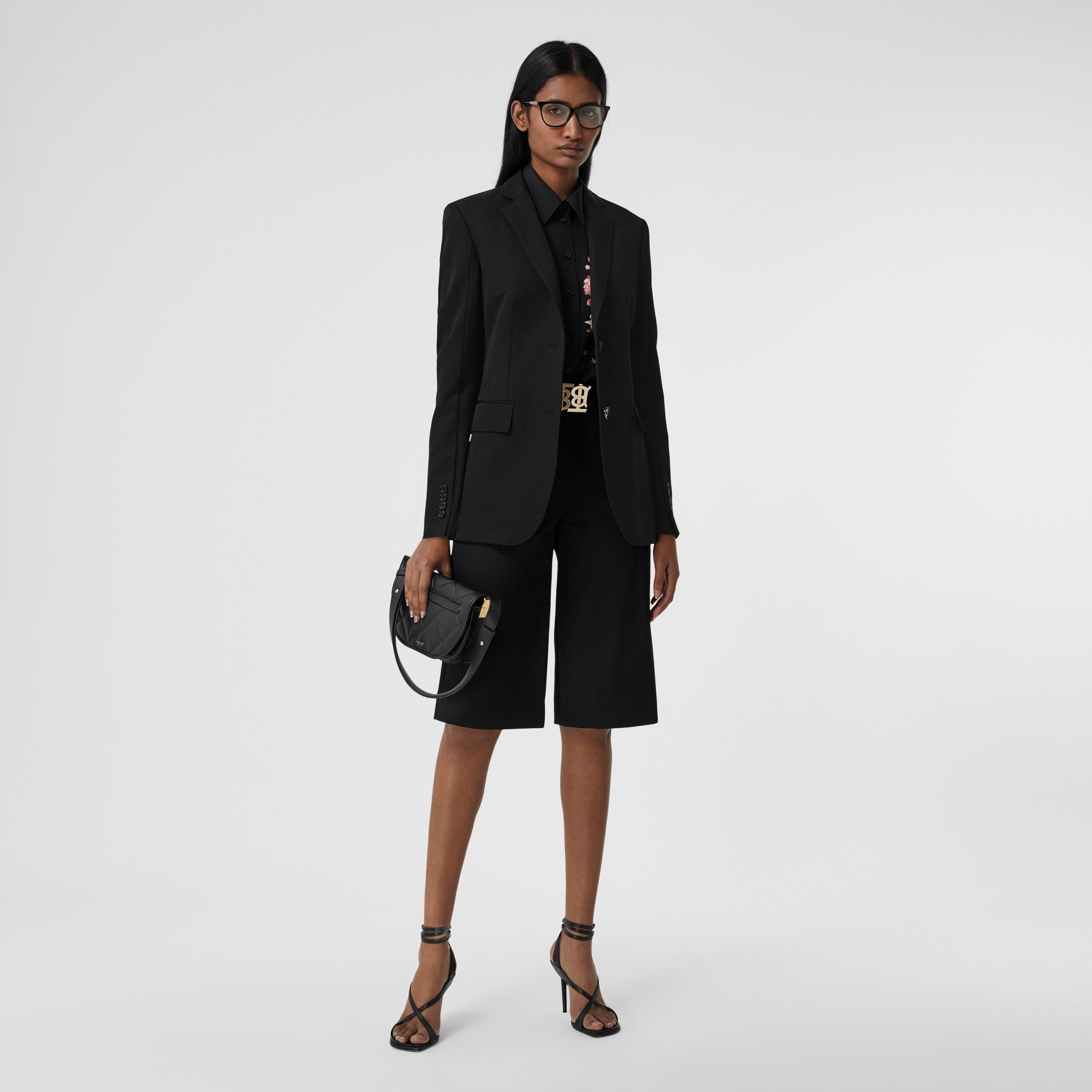 Technical Wool Gabardine Tailored Jacket in Black - Women | Burberry - 1