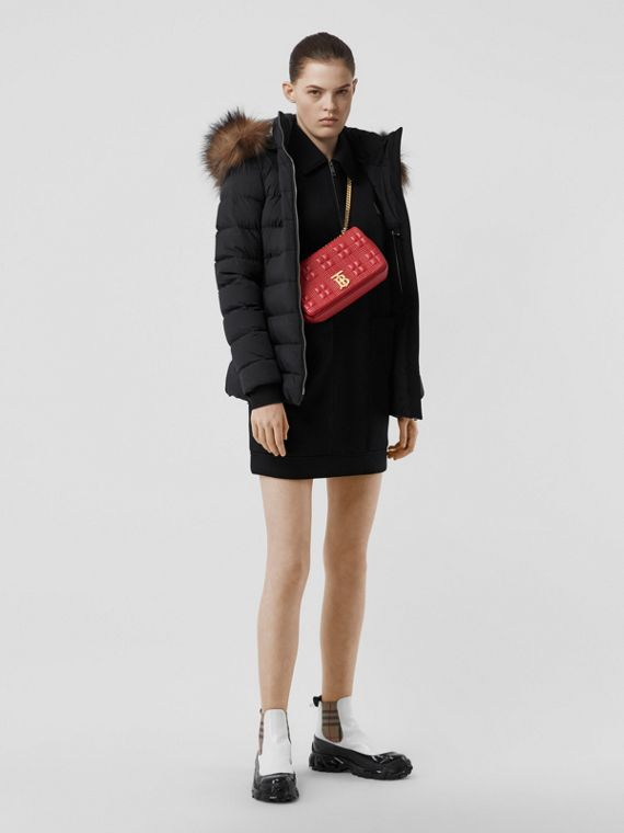 Detachable Faux Fur Trim Hooded Puffer Jacket in Black