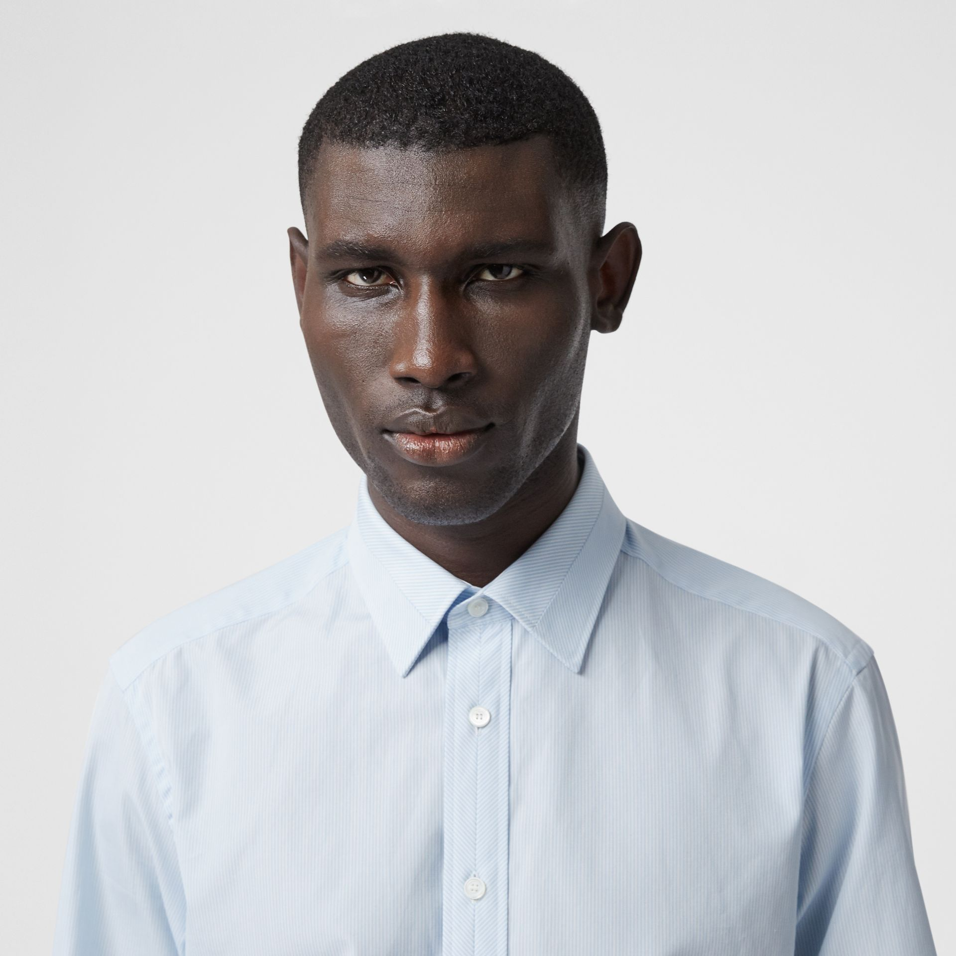 Classic Fit Striped Cotton Poplin Dress Shirt in Pale Blue - Men | Burberry - gallery image 1