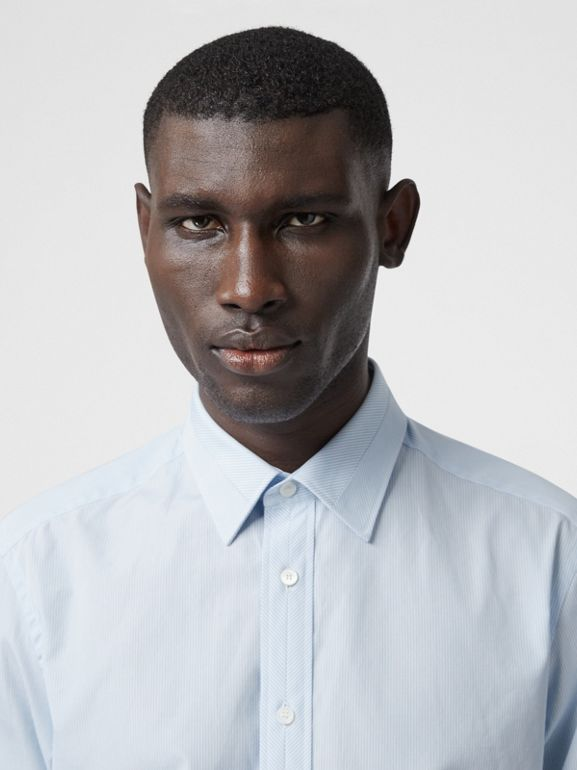 Classic Fit Striped Cotton Poplin Dress Shirt in Pale Blue - Men | Burberry - cell image 1