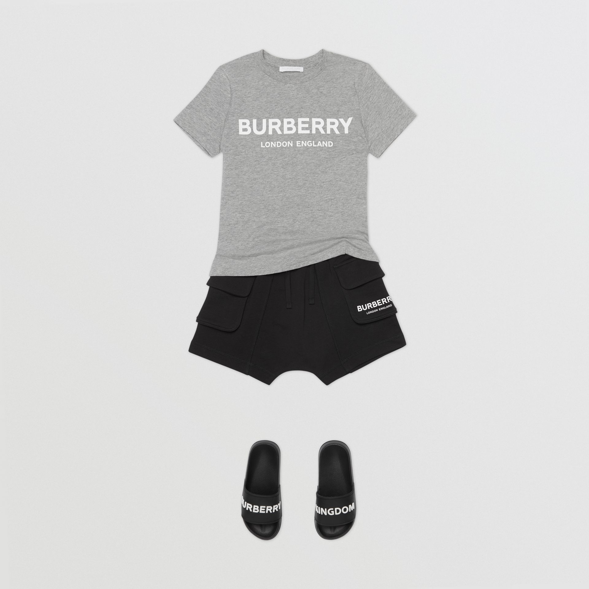 Logo Print Cotton T-shirt in Grey Melange | Burberry Australia - gallery image 2