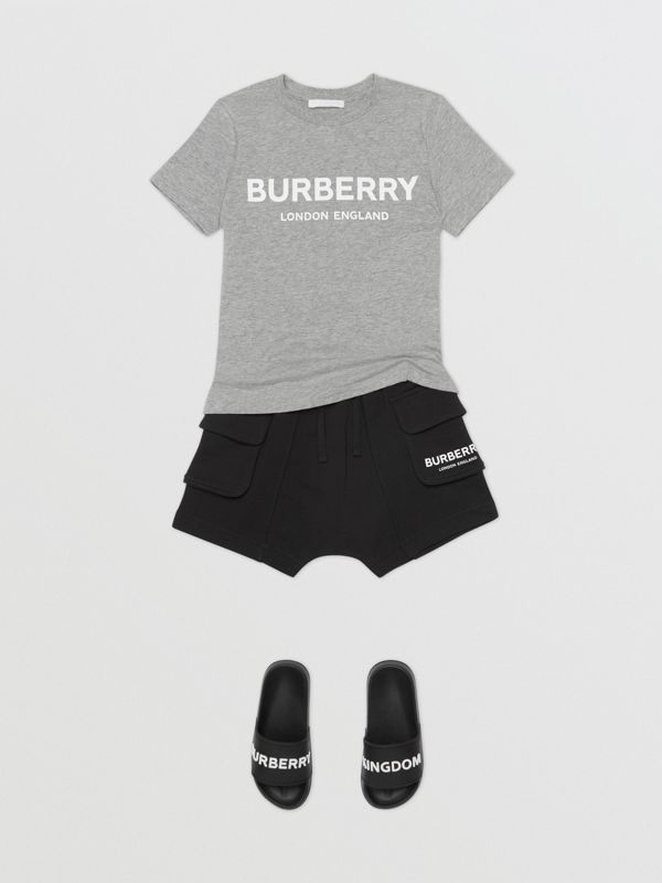 Logo Print Cotton T-shirt in Grey Melange | Burberry Australia - cell image 2