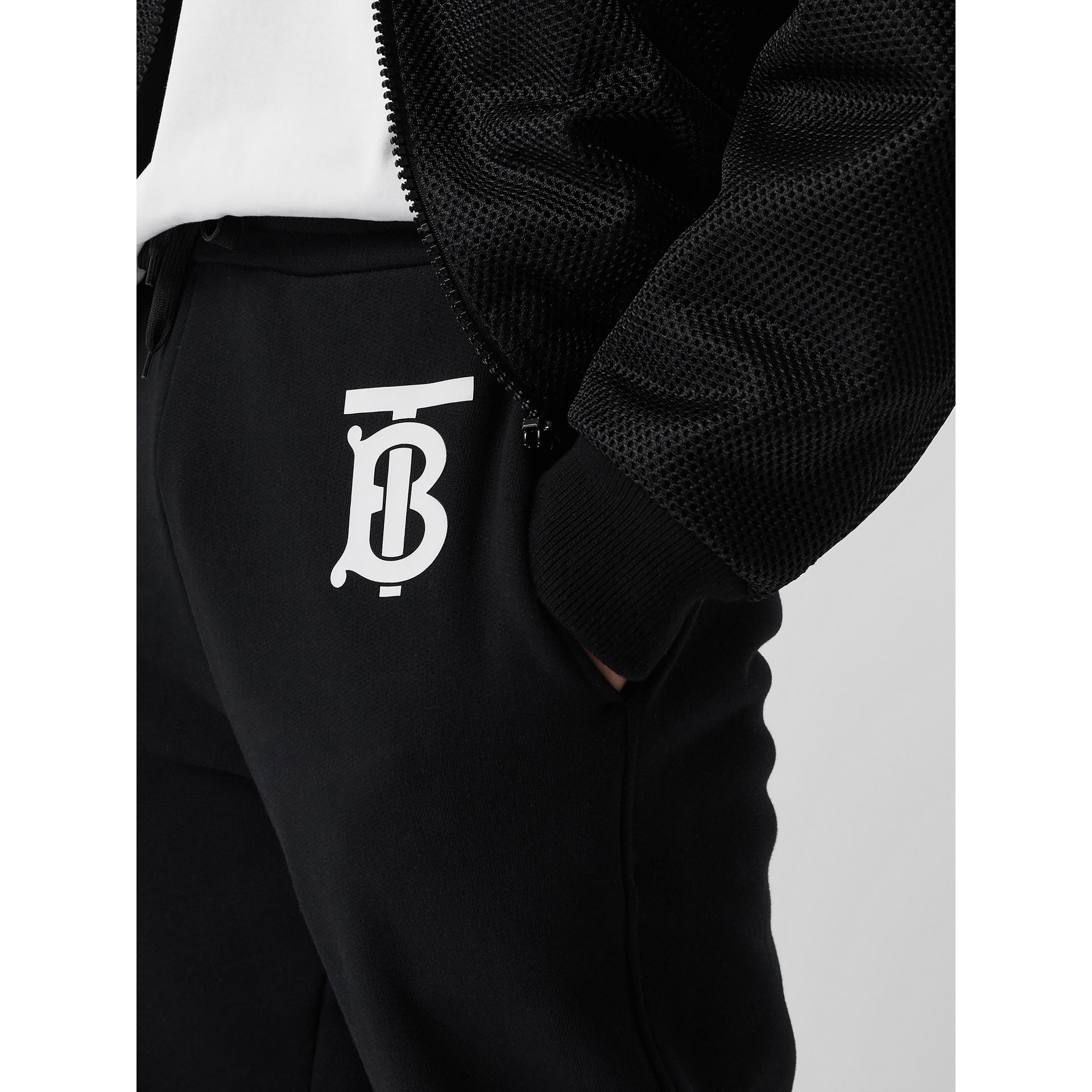 Monogram Motif Cotton Trackpants in Black - Men | Burberry United States - gallery image 2