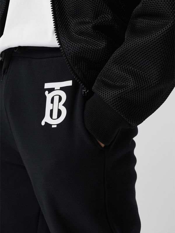 Monogram Motif Cotton Trackpants in Black - Men | Burberry United States - cell image 2