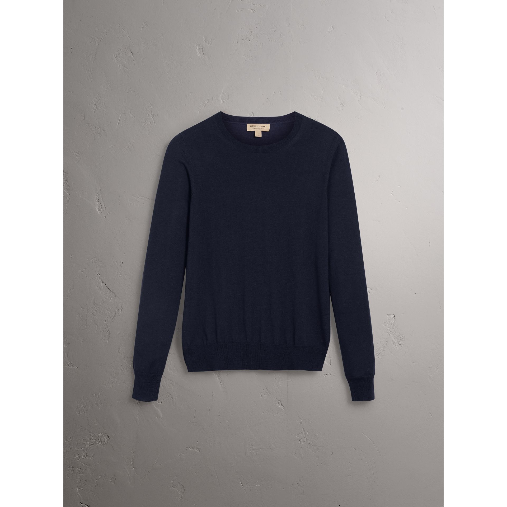 Check Detail Merino Wool Sweater in Navy - Women | Burberry - gallery image 3