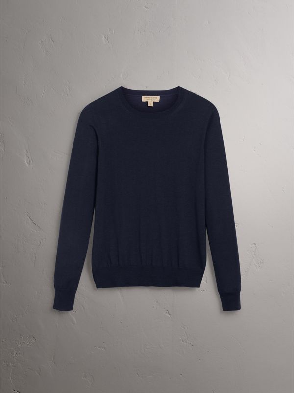 Check Detail Merino Wool Sweater in Navy - Women | Burberry - cell image 3