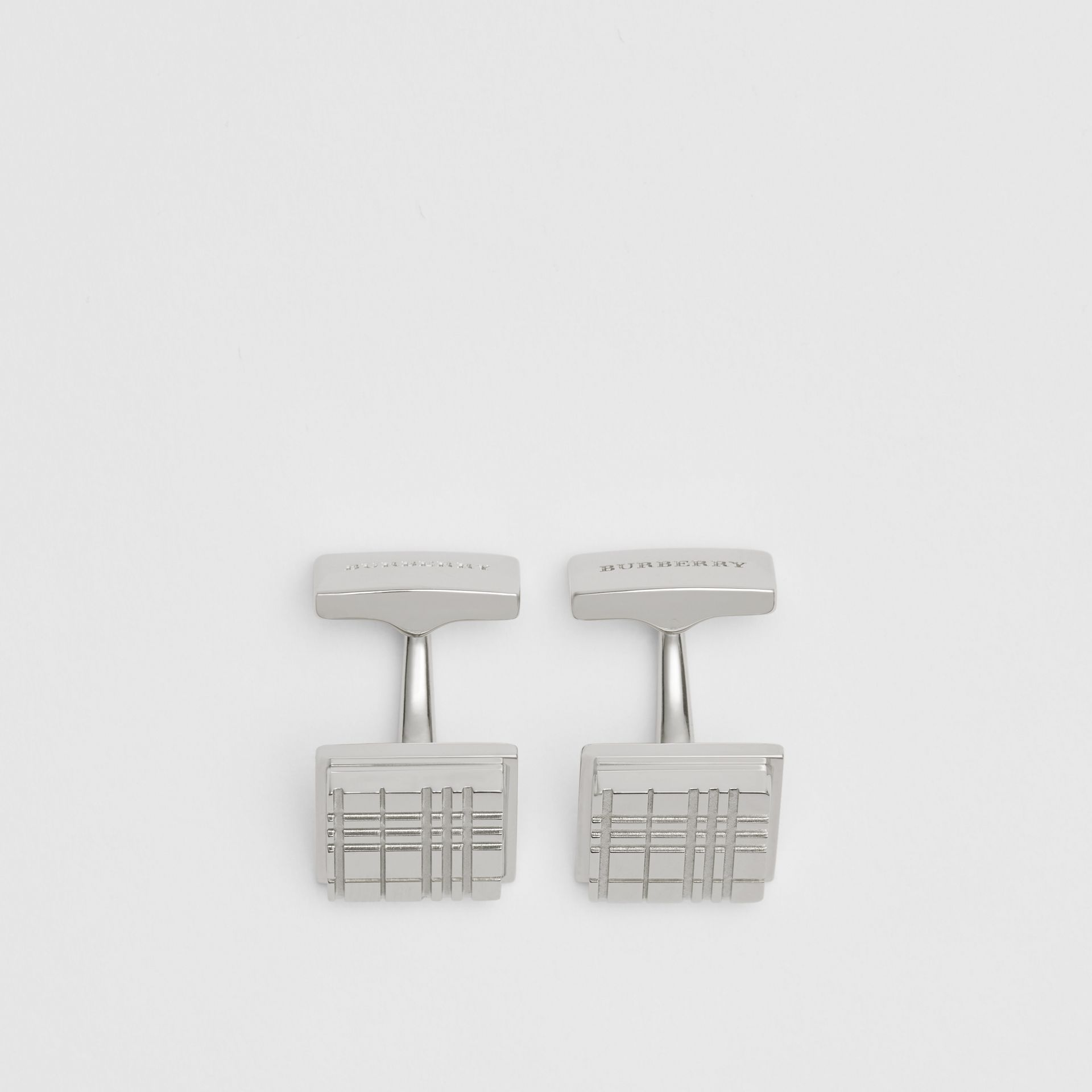 Check-engraved Square Cufflinks in Silver - Men | Burberry United Kingdom - gallery image 2