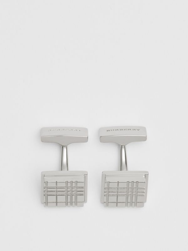 Check-engraved Square Cufflinks in Silver - Men | Burberry - cell image 2