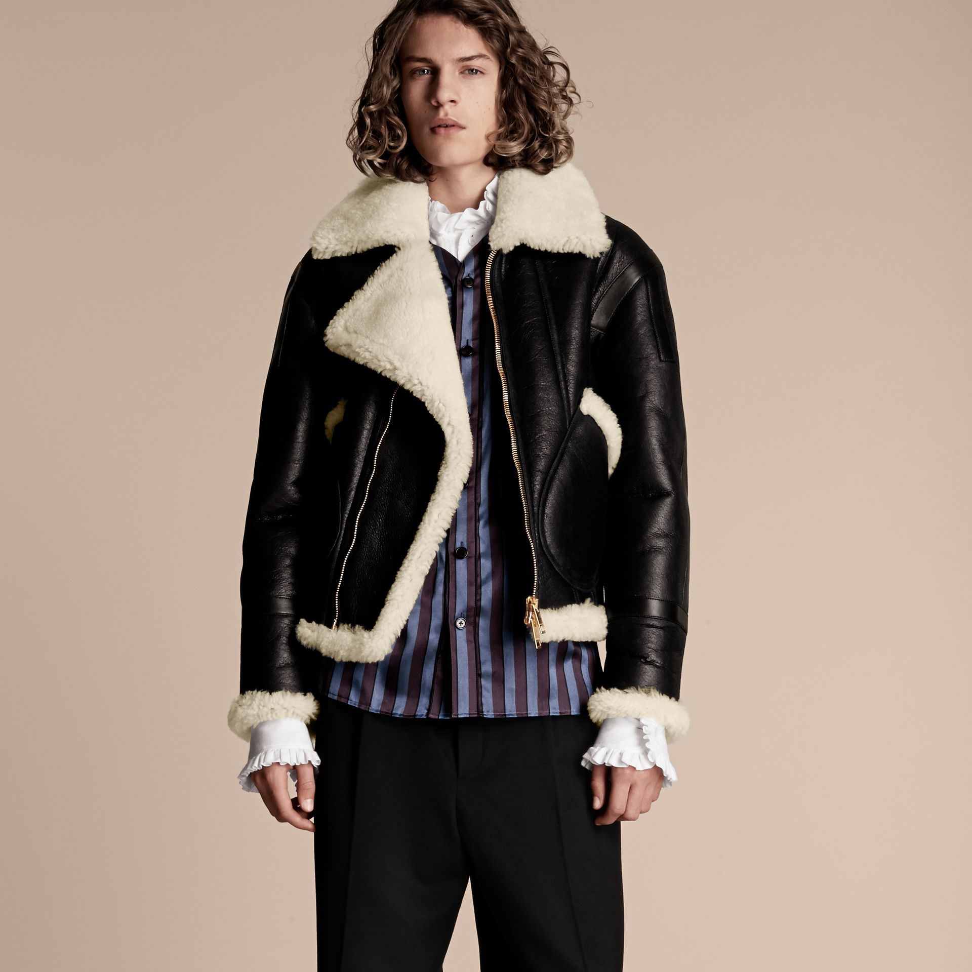 Panelled Shearling Aviator Jacket - gallery image 8