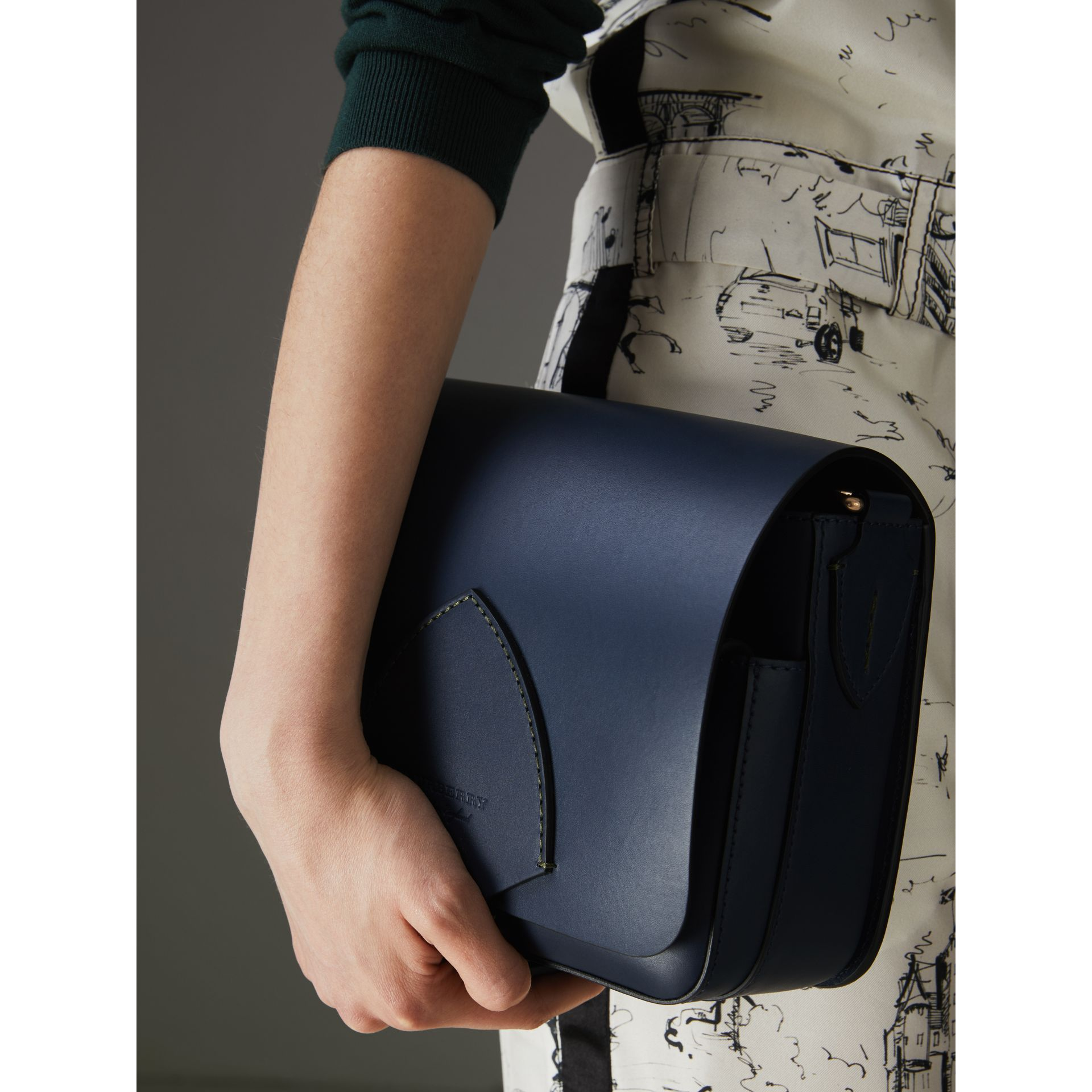 The Medium Square Satchel in Leather in Mid Indigo - Women | Burberry United States - gallery image 3