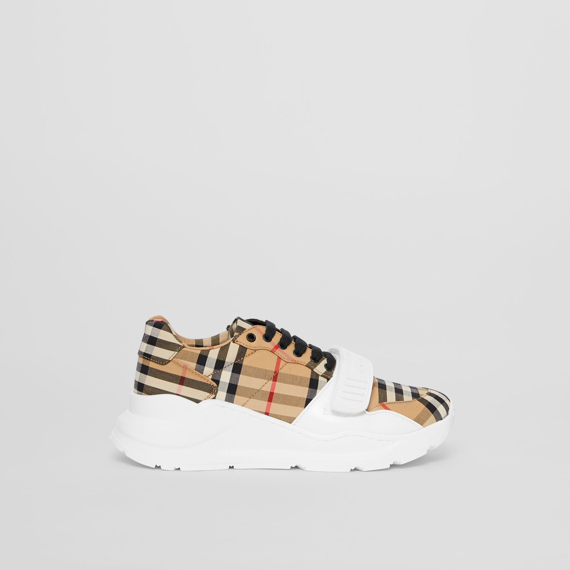 Vintage Check Cotton Sneakers in Archive Beige - Women | Burberry Canada - gallery image 5