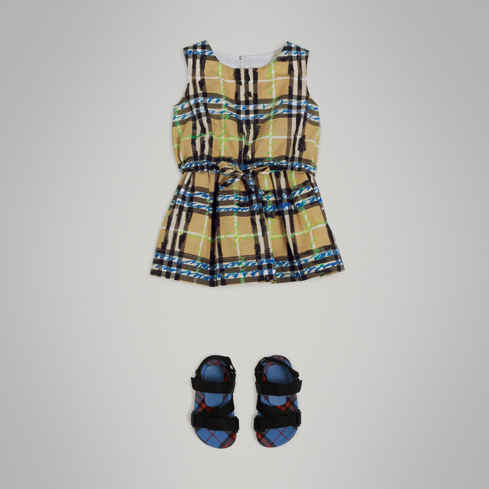 Scribble Check Print Cotton Drawcord Dress in Bright Blue - Children | Burberry - gallery image 2
