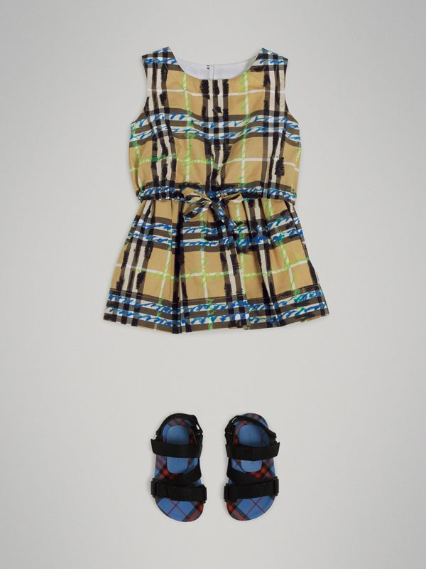 Scribble Check Print Cotton Drawcord Dress in Bright Blue - Children | Burberry United Kingdom - cell image 2