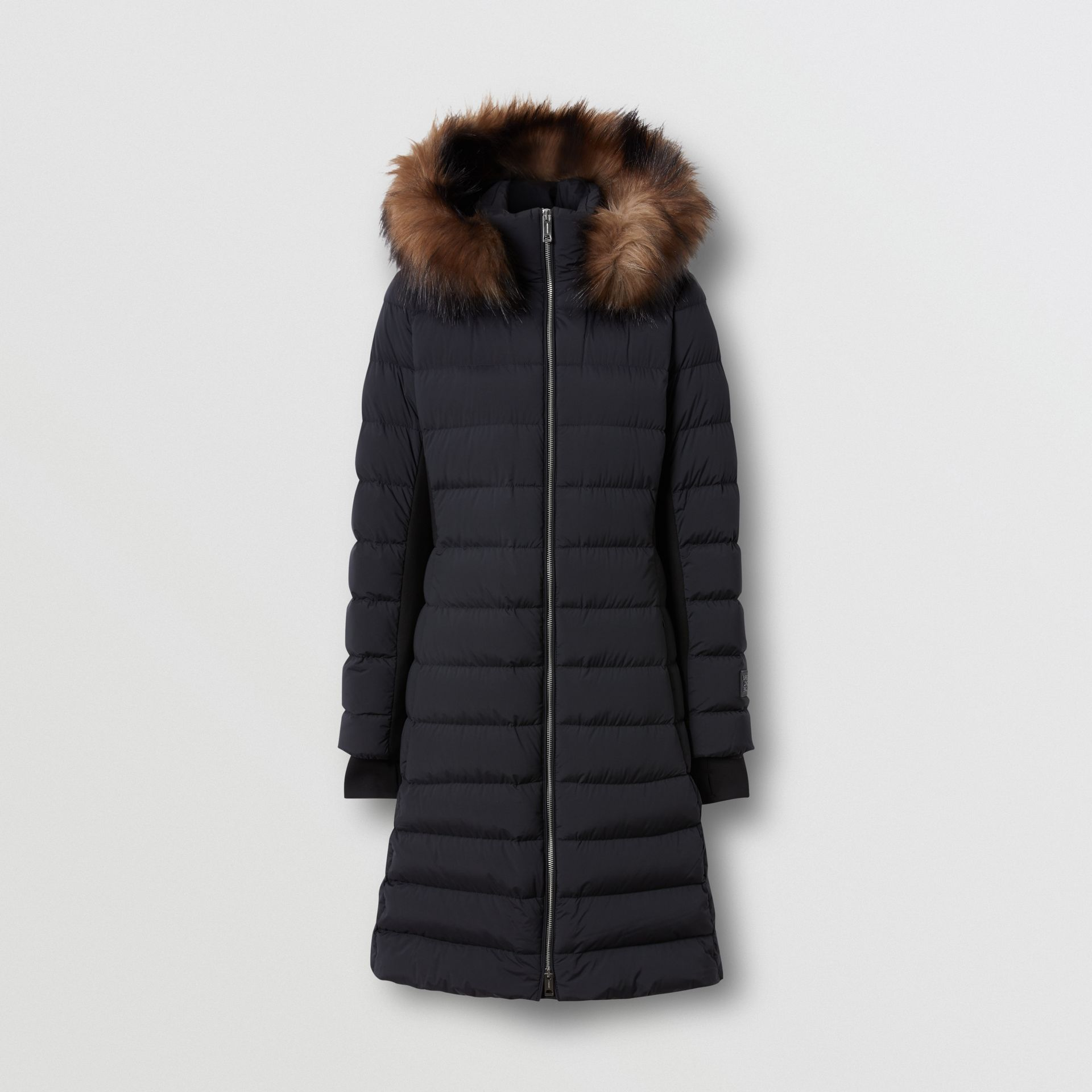 Detachable Faux Fur Trim Hooded Puffer Coat in Black - Women | Burberry - gallery image 2