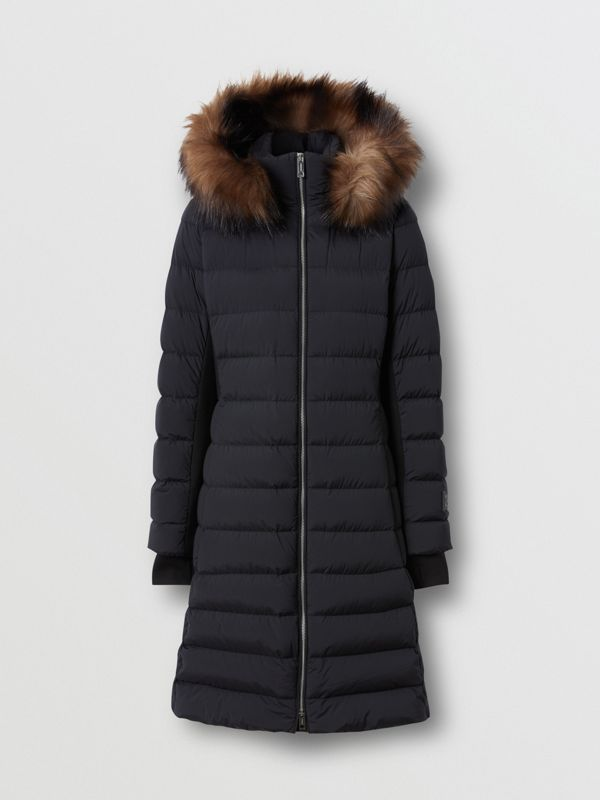 Detachable Faux Fur Trim Hooded Puffer Coat in Black - Women | Burberry United States - cell image 2