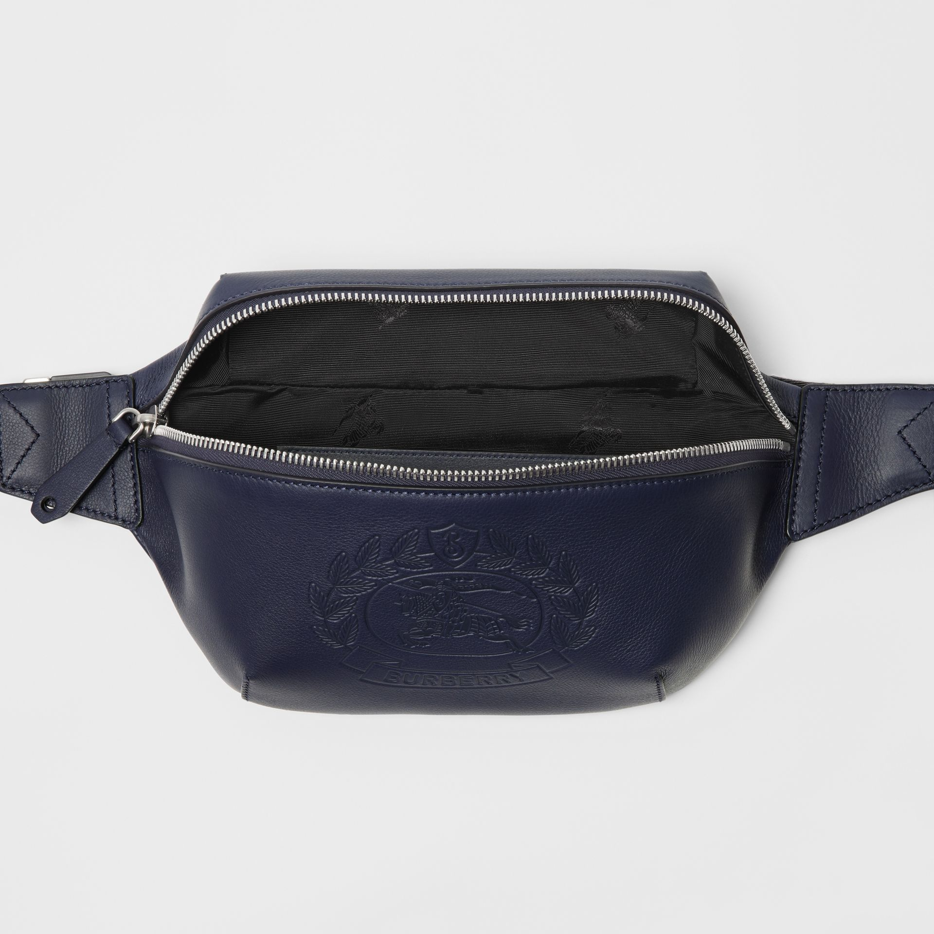 Medium Embossed Crest Leather Bum Bag in Regency Blue | Burberry Australia - gallery image 5