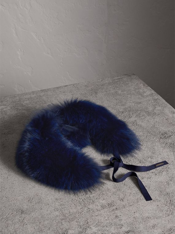 Fox Fur Collar with Check Cashmere Lining in Indigo Blue