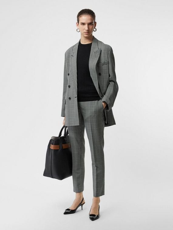 Pull à manches courtes en maille de cachemire côtelée (Noir)