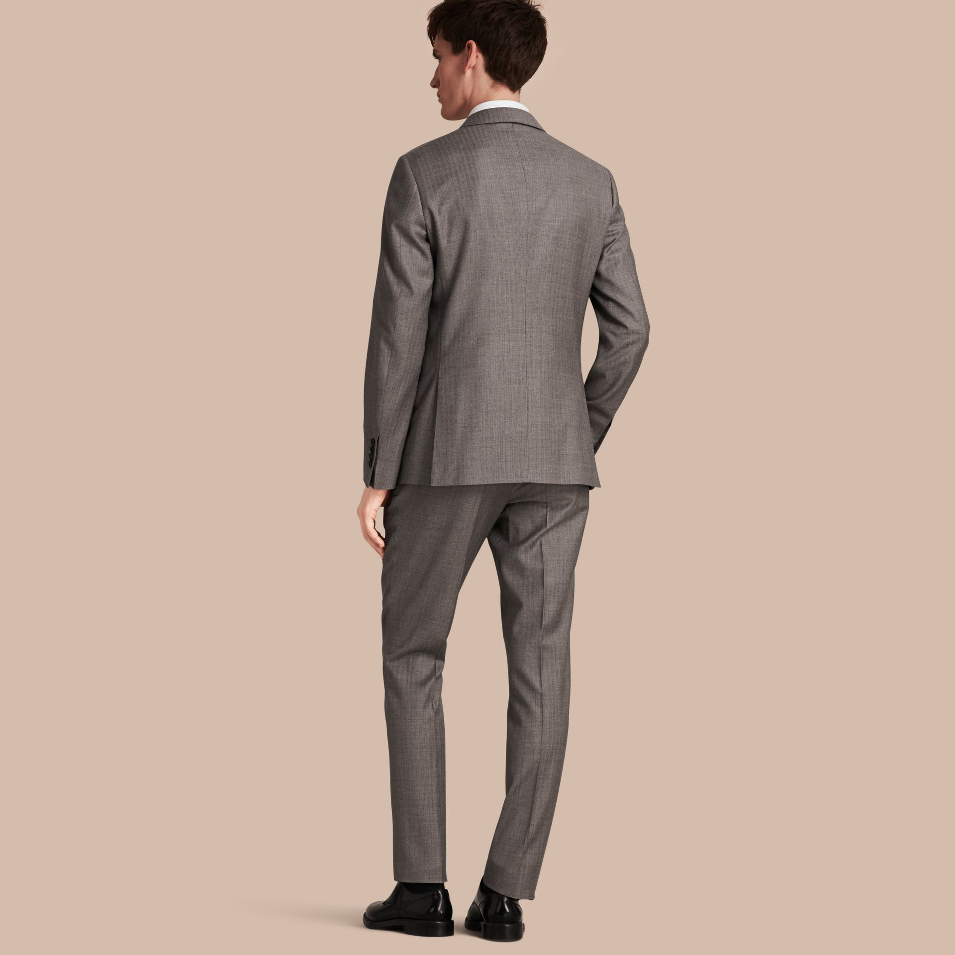 Mid grey melange Slim Fit Travel Tailoring Wool Suit - gallery image 3
