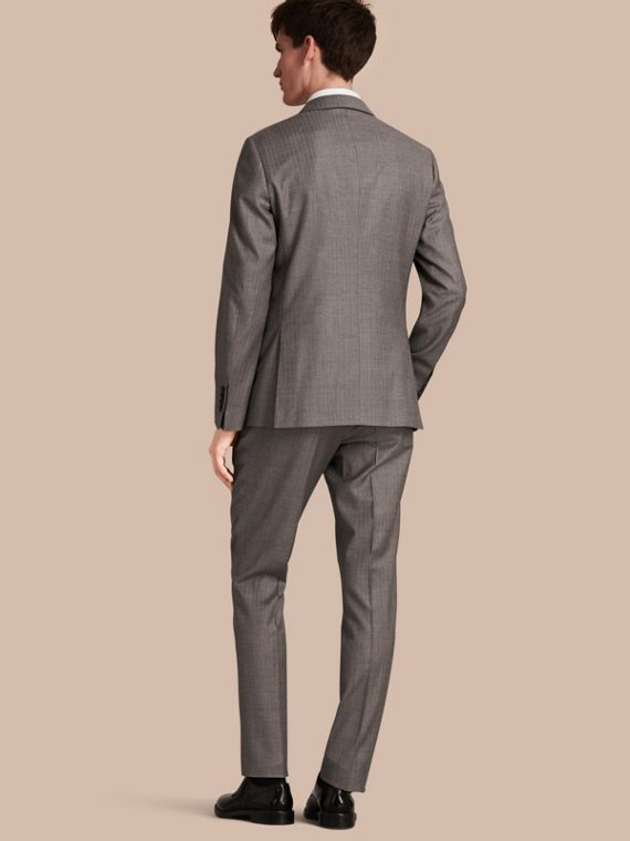 Mid grey melange Slim Fit Travel Tailoring Wool Suit - cell image 2
