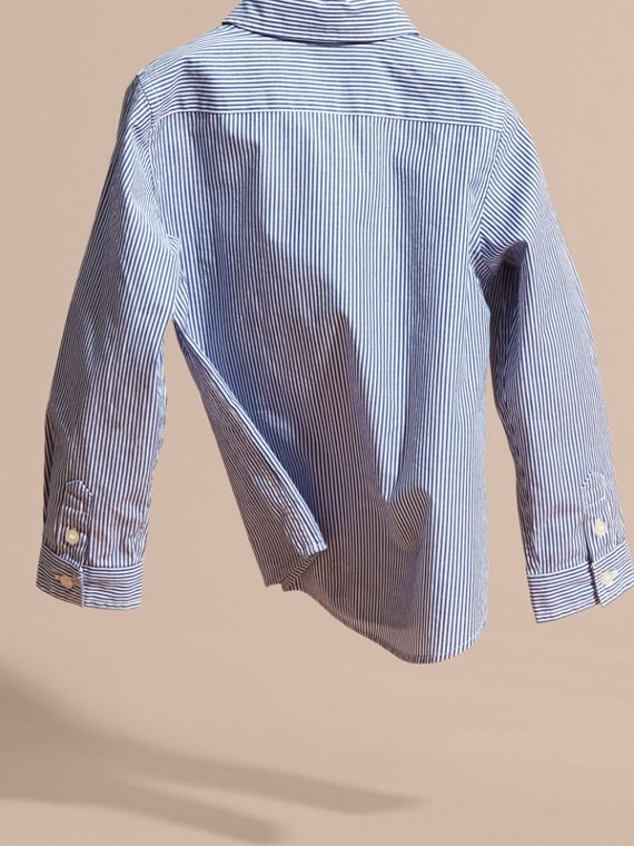 Marine blue Striped Stretch Cotton Shirt - cell image 3