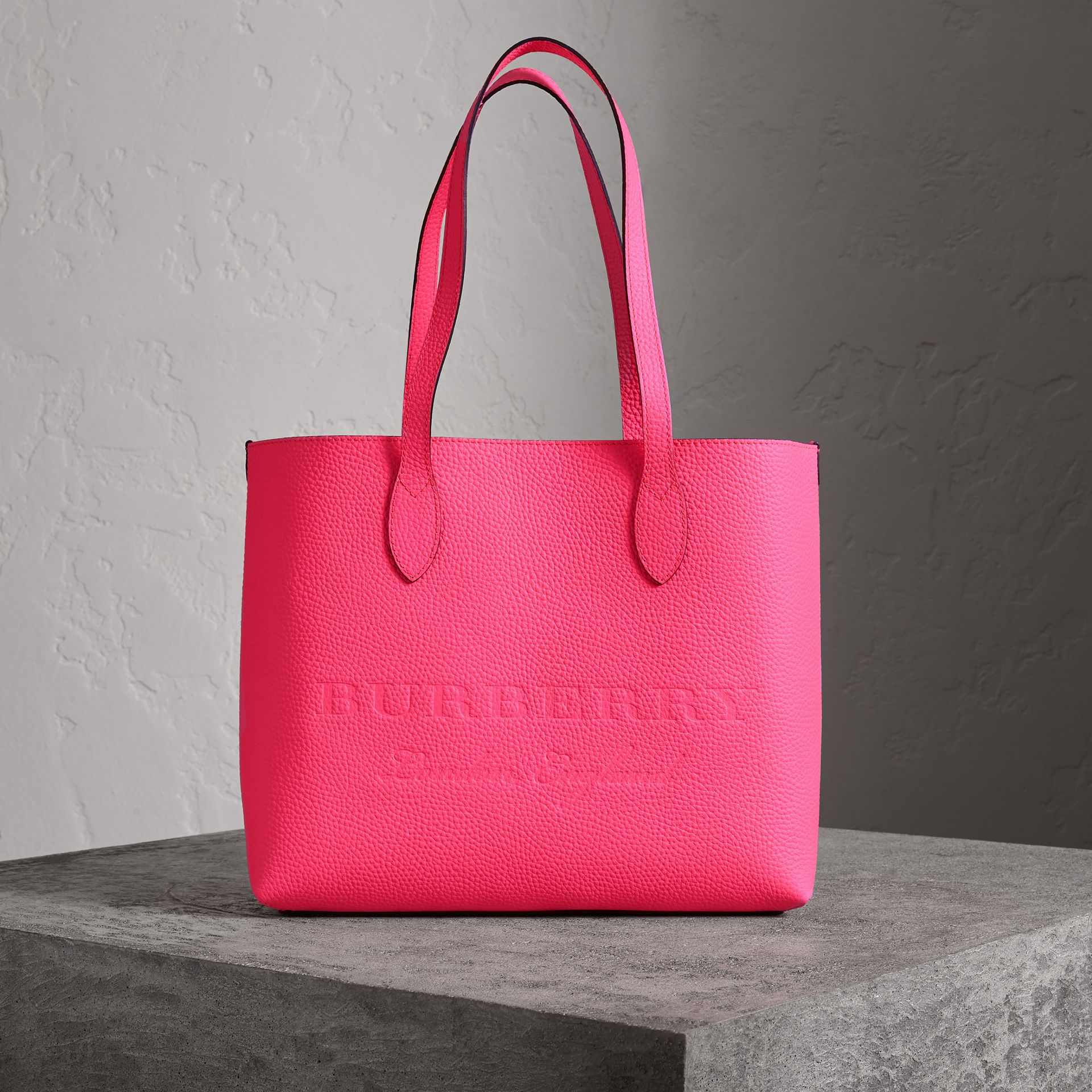 Embossed Leather Tote in Neon Pink | Burberry - gallery image 0