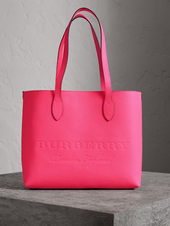 Large Embossed Leather Tote in Neon Pink