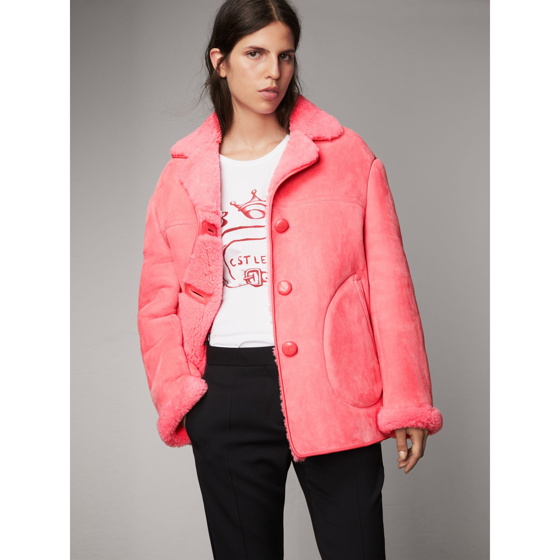 Leather Trim Shearling Oversized Jacket in Copper Pink - Women | Burberry Singapore - gallery image 4
