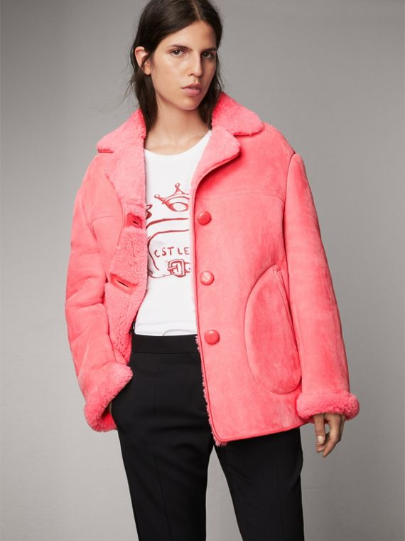 Leather Trim Shearling Oversized Jacket in Copper Pink