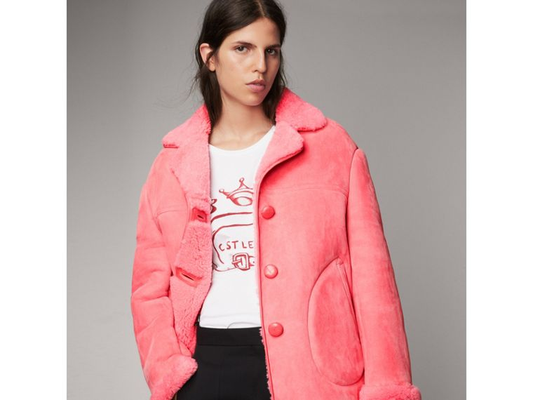 Leather Trim Shearling Oversized Jacket in Copper Pink - Women | Burberry - cell image 4