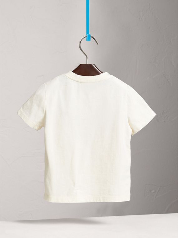 London Icons Motif Cotton T-shirt in Natural White - Girl | Burberry - cell image 3