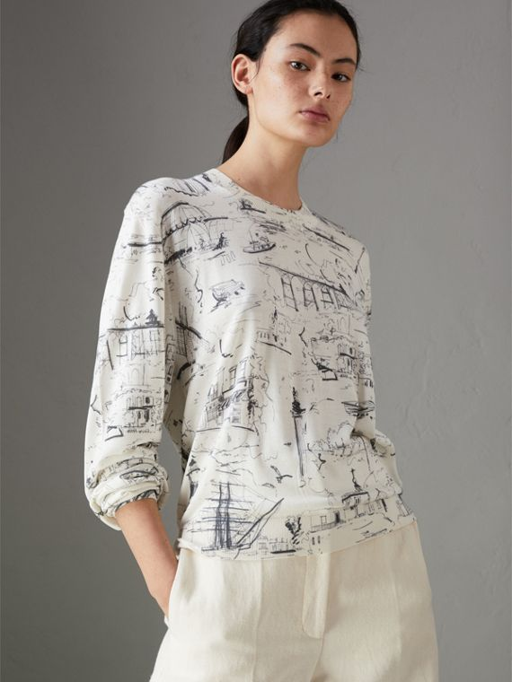 Landmark Print Silk Cashmere Sweater in Natural White